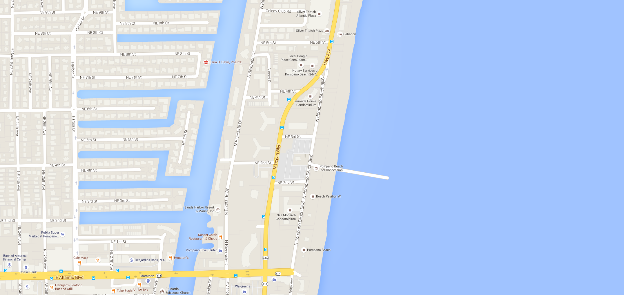Pompano Beach on map of san diego beaches, map of south daytona fl, map of tampa and pompano,